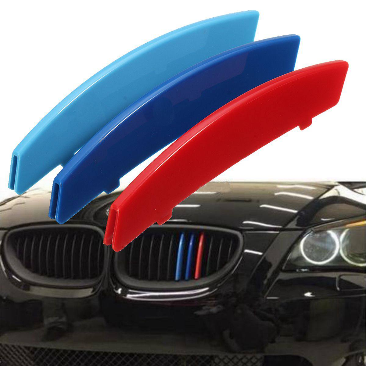 3pcs 3D <font><b>Car</b></font> Racing Grille Sport <font><b>Stripe</b></font> Clip ABS Decal Sticker For <font><b>BMW</b></font> 3 Series F30 F31 F35 E90 5 Series F10 F18 E60 X5 X6 E70 image