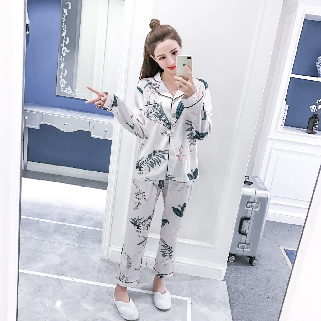 Spring And Autumn Imitated Silk Pajamas WOMEN'S Long Sleeve Thin Korean-style Cardigan Nobility Princess Homewear Set