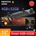 Автомобильный видеорегистратор OBDPEAK D90, 4 Гб + 32 ГБ, камера Android 8,1, потоковое зеркало заднего вида, 12 дюймов, 1080P привод, видео, Автомобильный ре...