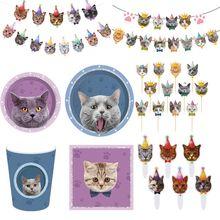 Gato do animal de estimação pratos de papel descartáveis copos guardanapos festa de aniversário chá de fraldas tema gatos festa de
