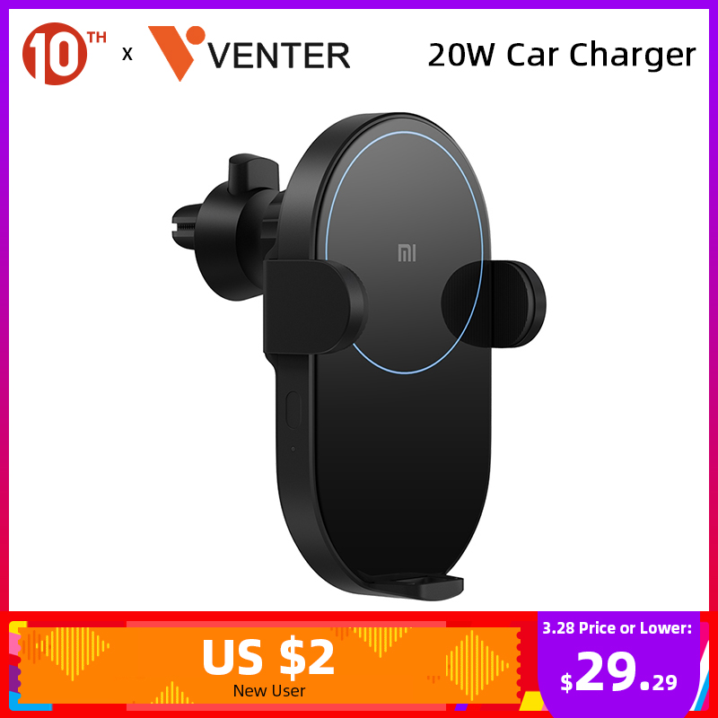 Xiaomi 20W Wireless Car Charger Max Electric Auto Pinch 2.5D Glass Ring Lit For Xiaomi Wireless Charging Cellphone
