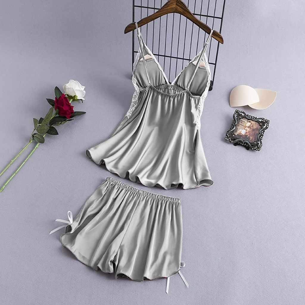 4pc Sleepwear Women Satin Lace Sexy Nightwear Camisole Bowknot Shorts Nightdress Robe Pajamas Lingerie Night Set Dress ##7