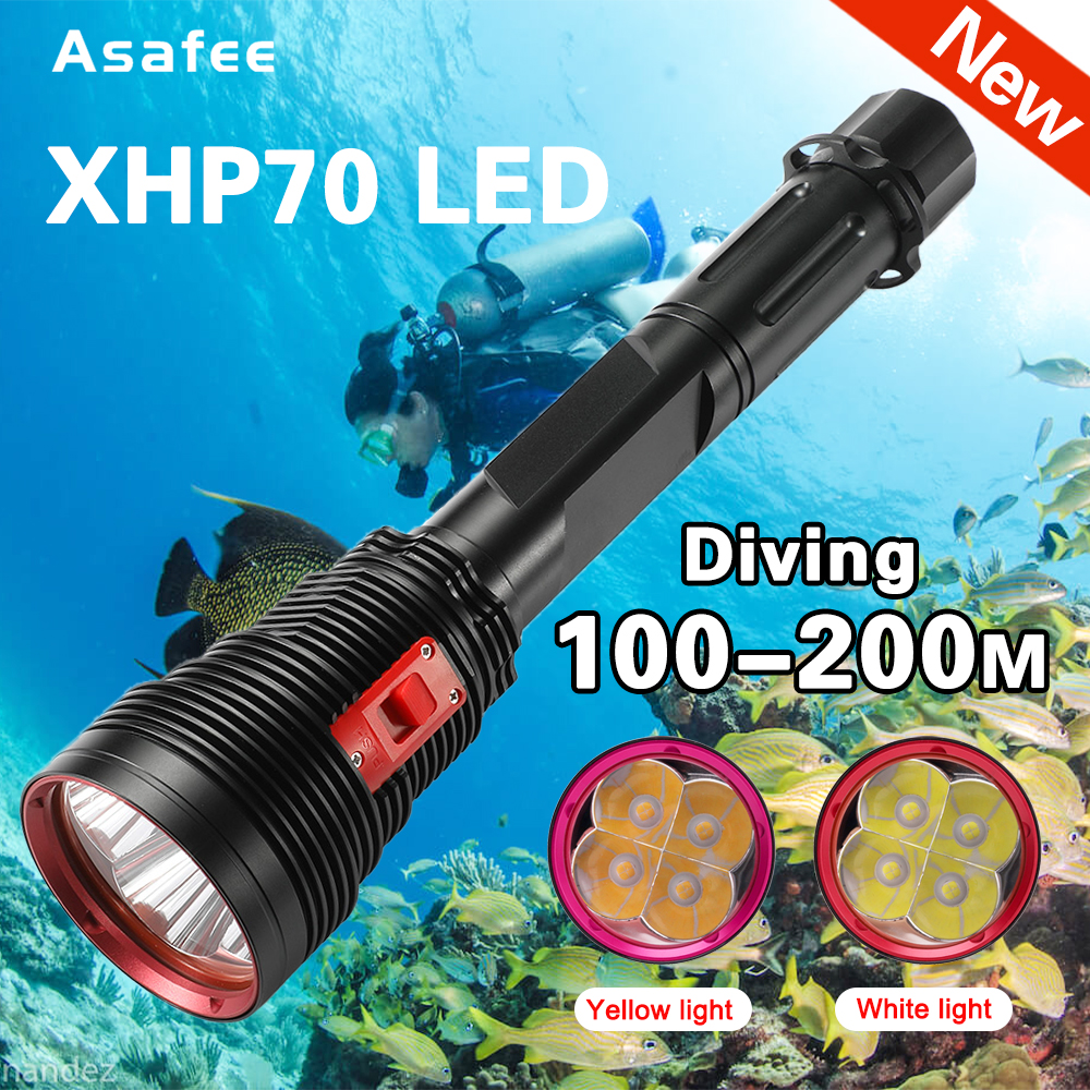 Super Bright 4x XHP70.2 Diving Flashlight IPX8 Scuba Lights 200M Underwater LED Torch Submersible lamp for Under Water Sports