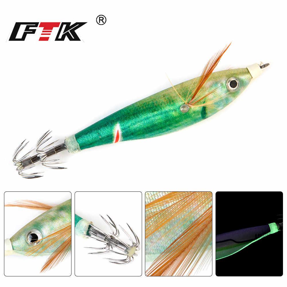 FTK 1 pièces pêche Lure10g/8 cm plomb plombs calmar crochet lumineux calmar gabarit pêche bois crevettes leurre seiche gabarits leurres