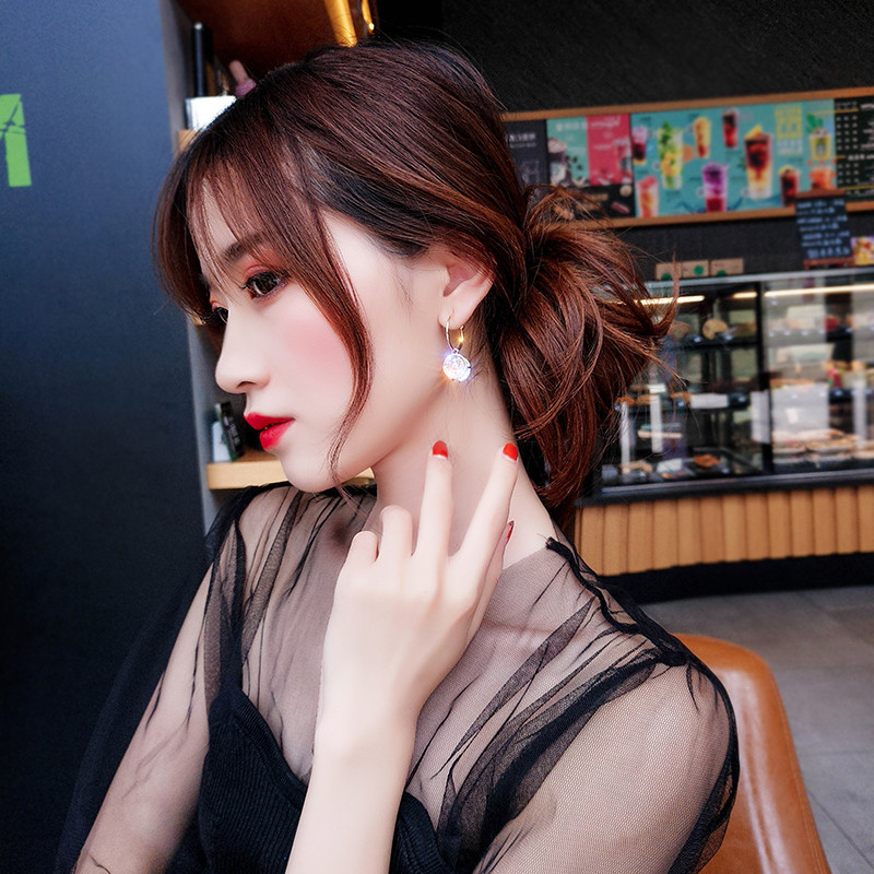 Hf74aa3fbcd5b40b3a86b229ac54e0c2dR - New Arrival Metal Classic Round Women Dangle Earrings Korean Fashion Circle Geometric Earrings Sweet Small Jewelry
