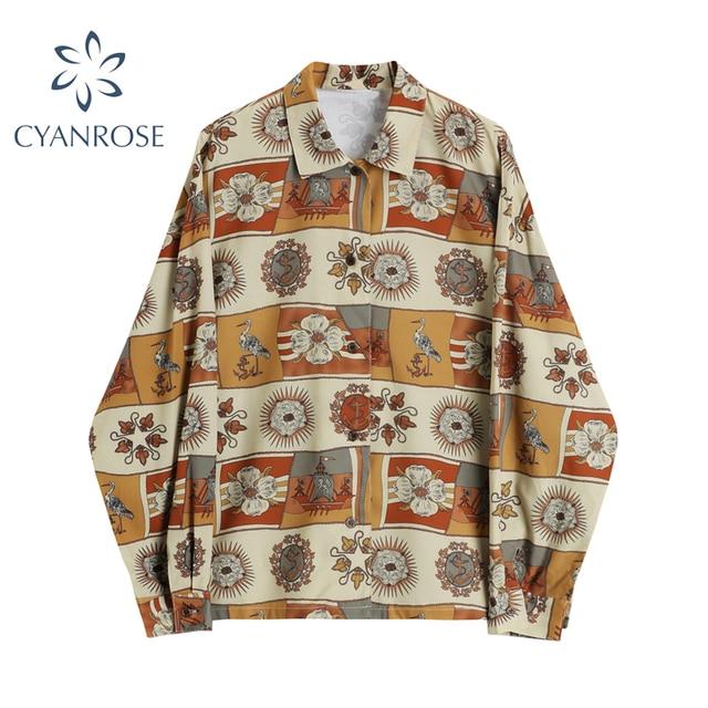 Autumn Vintage Print Shirt Women Turn Down Collar Long Sleeve Button Up Streetwear Korean Casual Loose Blouse Female Tops Blusas 1