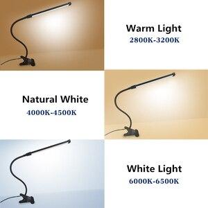 Image 3 - 80 LED 8W długie ramię lampy stołowe LED na biurko czytaj lampa stół biurowy ochrona oczu światło USB zasilany składany ściemniacz 10 poziomów zacisk