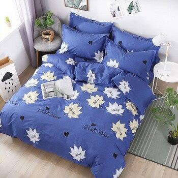 DannyKarl Duvet Cover 100% Cotton New Quilt for Bedroom Edredone 4pcs Leave Duvet Cover Pillowcase Reactive Printing Geometrical