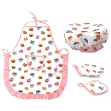 Includes-Apron Baking-Set Dress-Up Chef Little-Girls Kids Cooking Toddler And for Hat