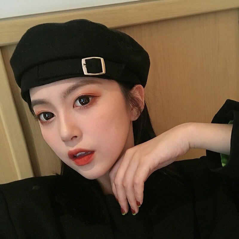 Nova moda doce cor botão feminino outono inverno chapéu boina boné feminino chapéu de viagem ao ar livre boinas de mujer presente chapéu senhora boné