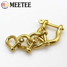 MEETEE 5pcs D Ring Pure Copper Key Buckle 6/7/9/15mm Brass Bag Connector Decoration Luggage DIY Leather Craft Accessory F1-46