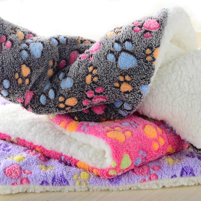 100X75 Cm Musim Dingin Tebal Besar Tempat Tidur Hewan Peliharaan Tikar Hangat Cetak Flanel Kapas Kasur Kucing Anjing Puppy Sofa Bantal kennel Anjing Mat Selimut