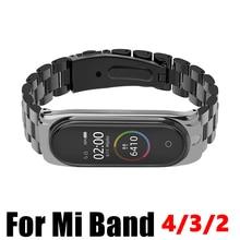 Xiao mi mi 밴드 용 스테인레스 스틸 4 3 2 Mi 밴드 용 스트랩 메탈 팔찌 4 팔찌 액세서리 Mi band 4 NFC Global wristbands