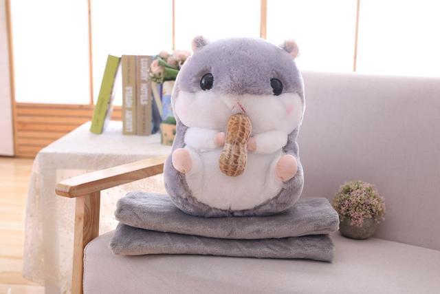 3 in 1 hamster blanket plush animal soft toy hamster pillow hand warmer for kids