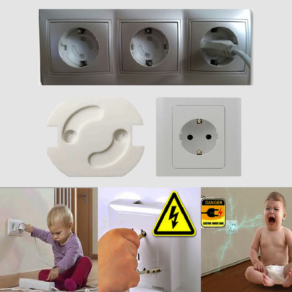 10Pcs/Lot Baby Safety Rotate Cover 2 Holes EU Standard Children Electric Protection Socket Plastic Baby Locks Kids Proof Socket