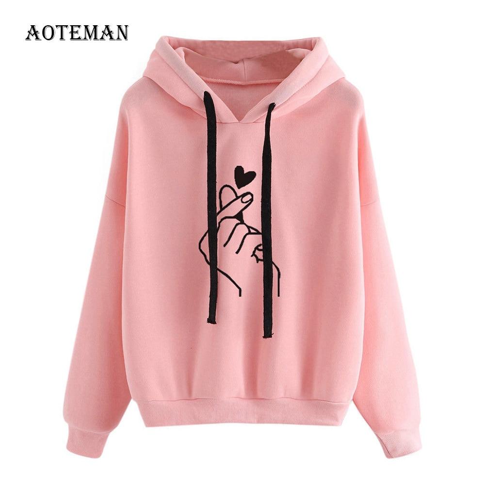 Autumn Winter Hoddies Sweatshirt Women 2019 Casual Soild Print Finger Heart Hoddies Female Warm Pullovers Long Sleeve Outwear