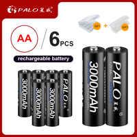 PALO 4/6/8/16 piezas aa de 1,2 V 2a AA batería 3000 mAh AA Ni-MH recargable batería para cámara de juguete baterías de coche