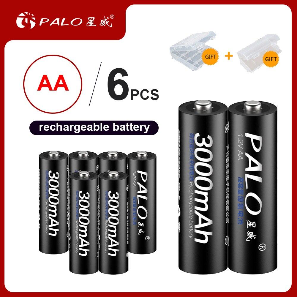 PALO 4/6/8/16 шт. 1,2 в aa 2a AA батарея 3000 мАч Ni-MH AA Аккумуляторная батарея для камеры игрушечных автомобильных аккумуляторов