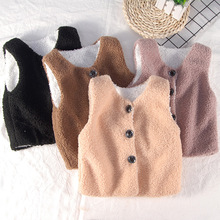 Baby Girl Clothes Toddler Vest Autumn Winter Boys And Girls Imitation Lamb Velvet Vest Baby Outing Warm Clothes