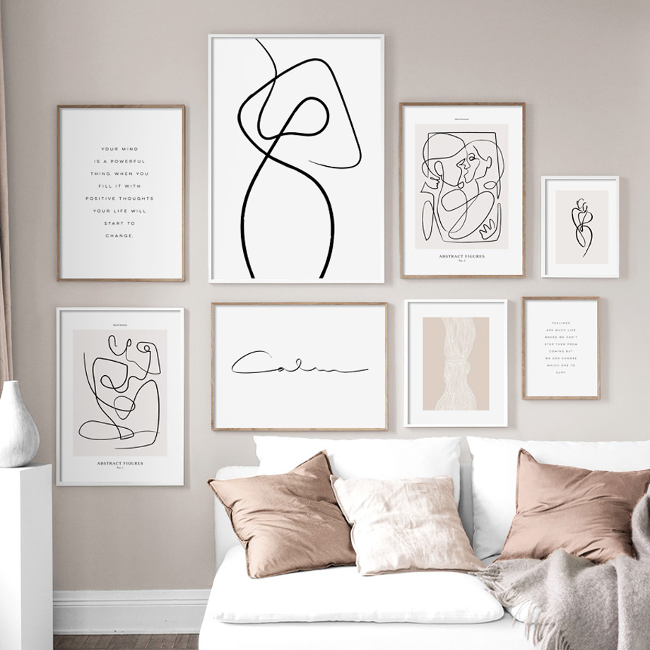 Wall Art Canvas Painting Drew Line Face Flower Abstract Painting Nordic Posters And Prints Wall Pictures For Living Room Decor