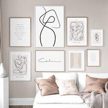 Arte de pared lienzo pintura dibujo línea cara flor pósteres de pintura abstracta nórdica e imprime cuadros de pared para la decoración de la sala de estar