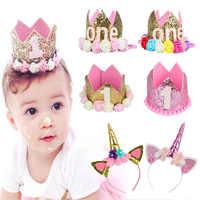 Sombrero de fiesta de cumpleaños para bebé, diadema de corona de princesa, decoraciones para fiesta de cumpleaños de 1, 2 y 3 años, gorros para Baby Shower 1ª y 2ª fiesta