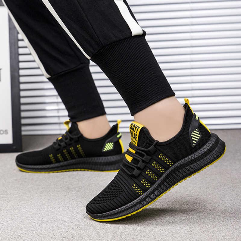 Zaprojektowane 2020 męskie obuwie oddychające siatkowe trampki wygodne obuwie spacerowe męskie buty do biegania sportowe WIENJEE lato nowe