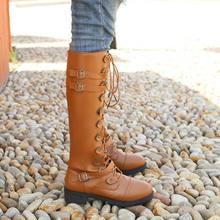 Рыцарские ботинки женские осенне зимние на толстом каблуке плоской