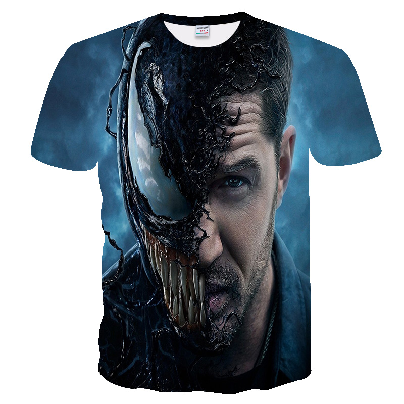 Super Hero Venom Marvel Pattern 3D Printed T-shirts For Men Women Summer Funny Casual Shirt Fitness T-Shirt Crewneck Loose Tees