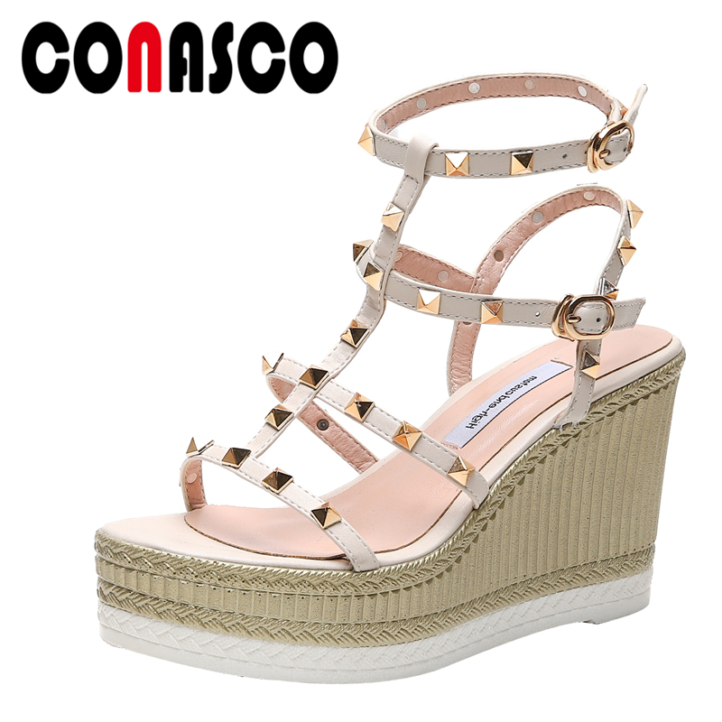 CONASCO Genuine Leather Women Sandals Pumps Summer Fashion Rome Style Gladiator Narrow Band Rivet Wedges High Heels Shoes Woman