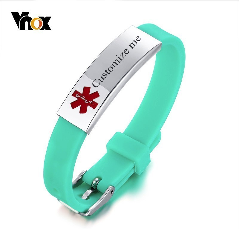Vnox Sporty Anti Allergy Silicone Medical Alert ID Bracelets For Girl Boy Stainless Steel Bar Adjustable Length Band