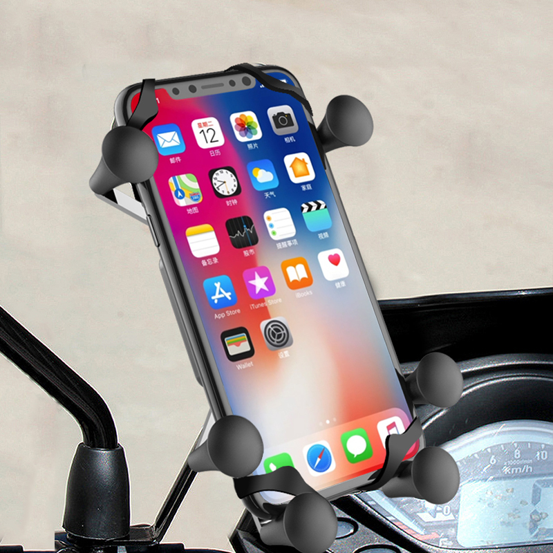 XMXCZKJ 6 Claw X-Type Rearview Mirror Phone Holder Motorcycle And Scooter Mount Holder Smartphone & GPS Holder For Iphone  XR