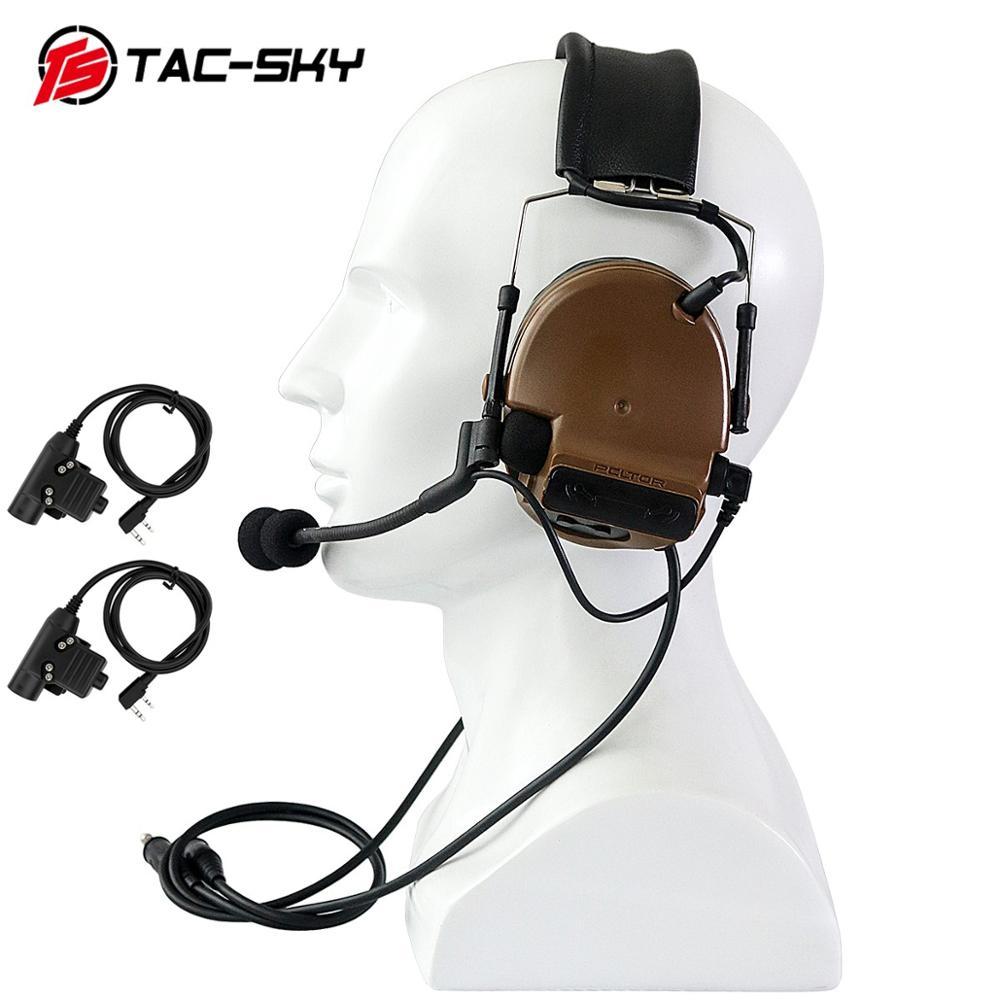 Купить с кэшбэком TAC-SKY COMTAC III double pass silicone earmuff version noise reduction tactical headset + 2 military adapter KENWOOD U94 PTT