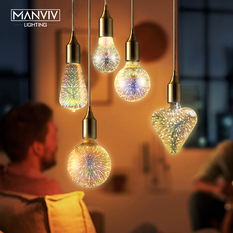 Modern Pendant Light Rope Lamp Holder 3D Firework Bulbs  Hanging Lights AC85-265 Pendant Lamps For Kitchen Living Room Restauran