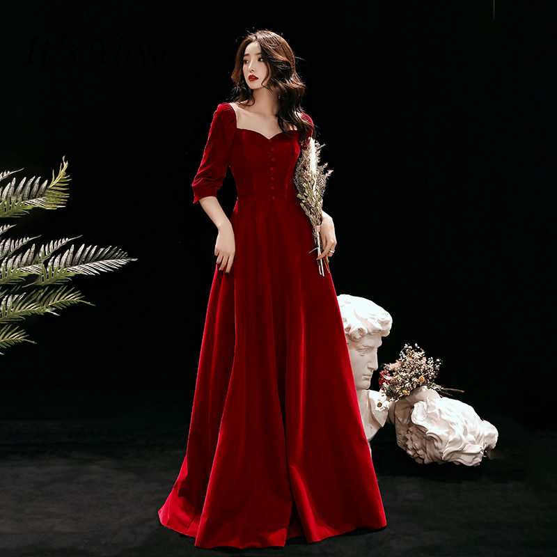 It's Yiiya Evening Dress 2020 For Women Square Collar Evening Dresses Long Velour Formal Gowns Plus Size Robe De Soiree LF141
