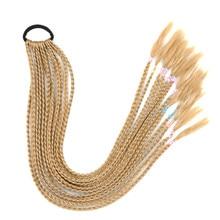Faux cheveux poney O Extension de cheveux postiches pour femmes Tresses sur une bande élastique longue queue de cheval tressée cheveux Tresses fausse queue