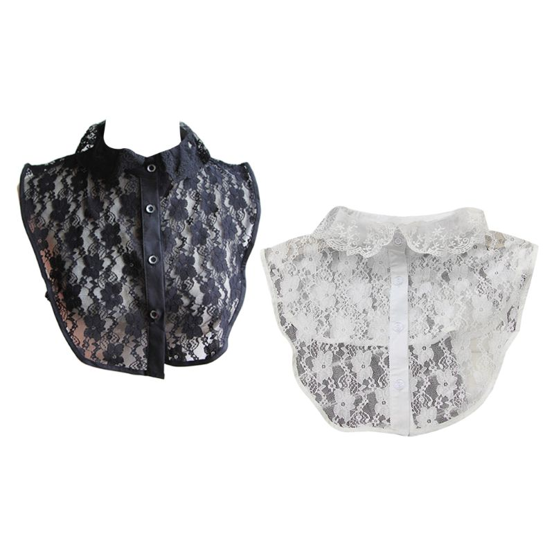 Women Fake Collar Embroidery Sheer Floral Lace Ruffles Lapel Sweater Half-Shirt