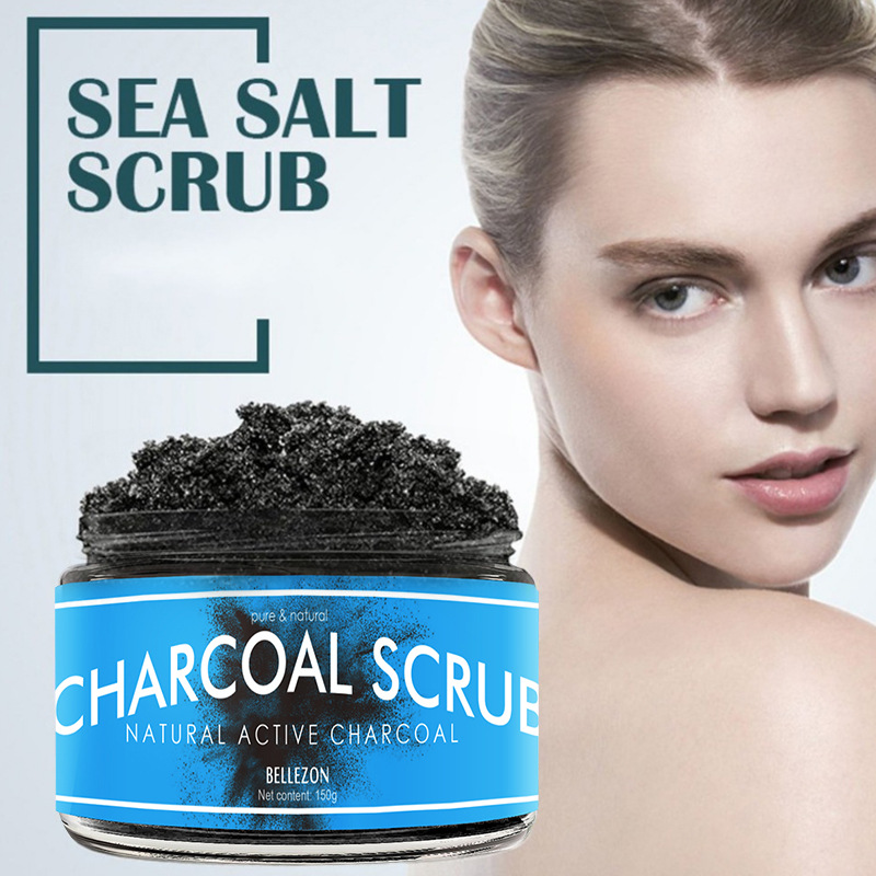 Body Scrub  Bamboo Charcoal Scrub Exfoliating Dead Skin Sea Salt Activated Carbon Cleansing And Moisturizing 150g Body Scrub
