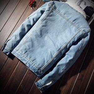 Image 3 - ผู้ชาย Denim แจ็คเก็ตอินเทรนด์ฤดูหนาว Warm Fleece บุรุษ Outwear แฟชั่น Jean แจ็คเก็ตชายคาวบอยสบายๆขนาด 5XL 6XL