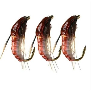 3Pcs Realistic Nymph Scud Fly for Trout Fishing Fly Tying Artificial Lure Baits