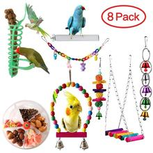 8Pcs Parrot toys Bird toy Swing Foraging Swing Bird Creative System Wheel Seed Food Ball Rotate Training Toy for Parrots 8pcs shower room bathroom glass door swing round pulley roller wheel circular shower wheel rolling wheel