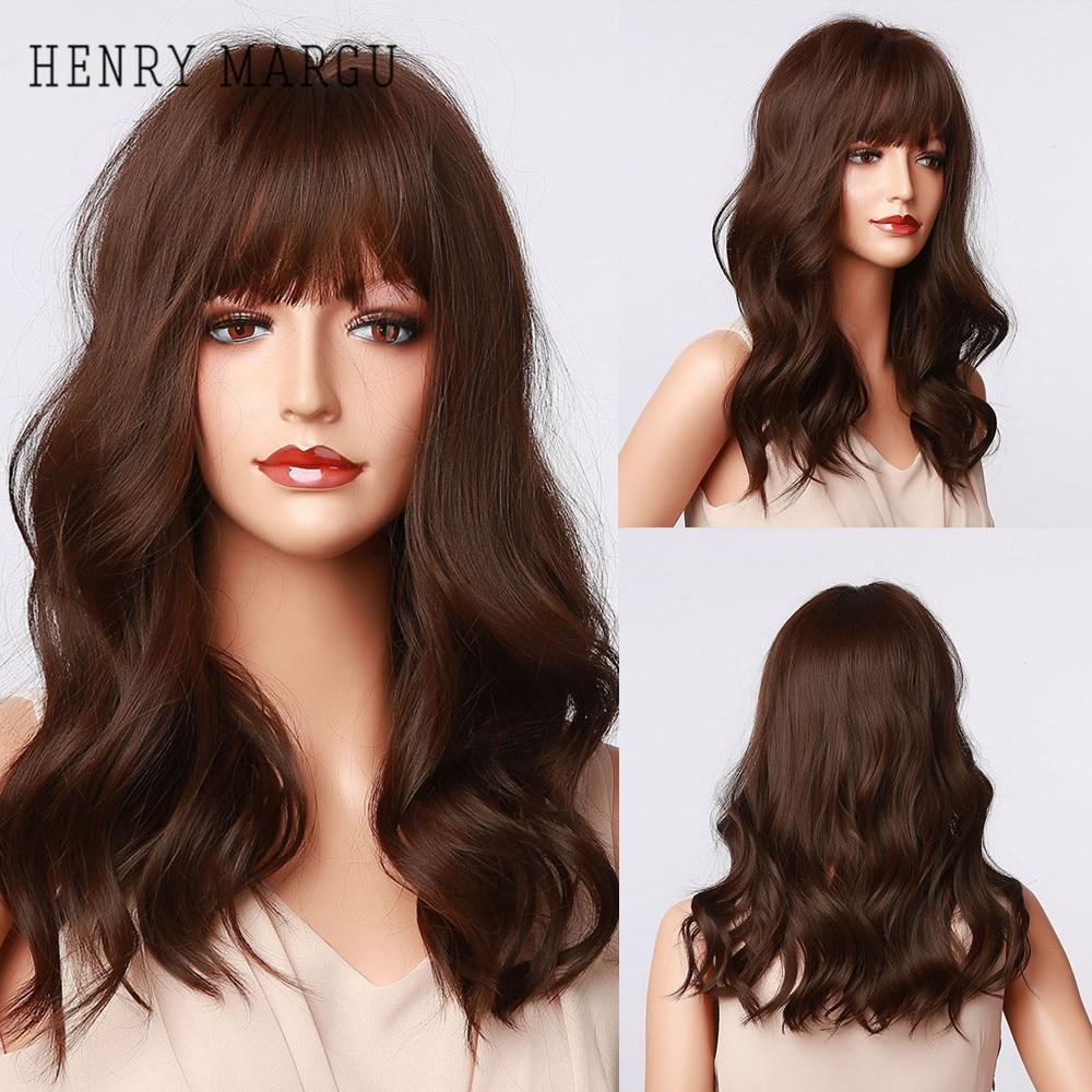 Pelucas sintéticas onduladas con flequillo HENRY MARGU, pelo largo Bob, marrón oscuro, Ombre Natural, pelucas para uso diario para mujeres, Cosplay, resistentes al calor