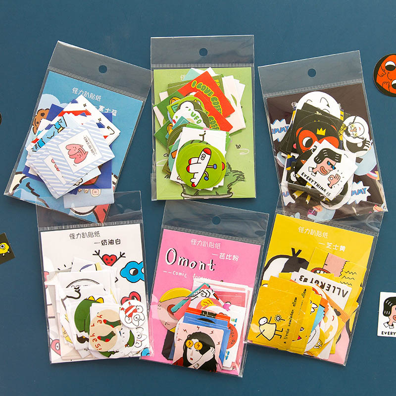 60Pcs Cute Monster Stickers Kawaii Cartoon Stationery Stickers Paper Adhesive Sticker For Kids DIY Scrapbooking Diary Supplies