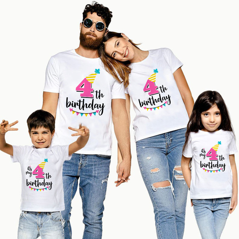 1PC It's My 4th Birthday Family Matching Clothes Mommy Daddy And Daughter Son Birthday Tshirts Outfit Baby Girl Boy Party TShirt