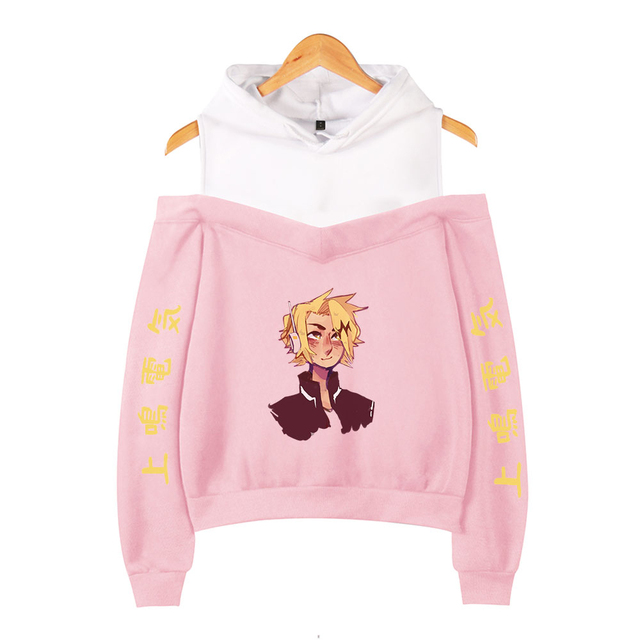 My Hero Academia Hoodies Female Off Shoulder Sweatshirt Women's Pullover Harajuku Streetwear Denki Kaminari 2021 Anime Clothes 5