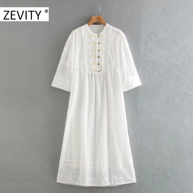 ZEVITY New Women elegant o neck hollow out embroidery casual straight midi dress lady buttons kimono vestido chic Dresses DS4397
