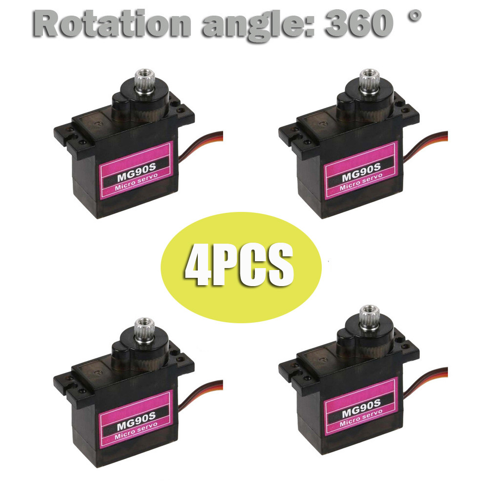 4PCs MG90S Micro Metal Gear 9g <font><b>Servo</b></font> for RC Plane Helicopter Boat Car 4.8V- 6V Rotation <font><b>360</b></font>° Light Weight Less Noise waterproof image