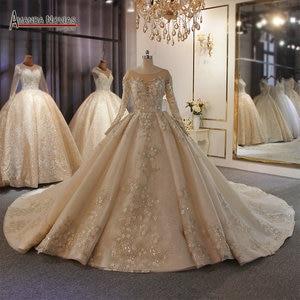Image 1 - אמנדה Novias מותג חתונה שמלה באיכות גבוהה תחרה העבודה האמיתית דובאי שמלות כלה