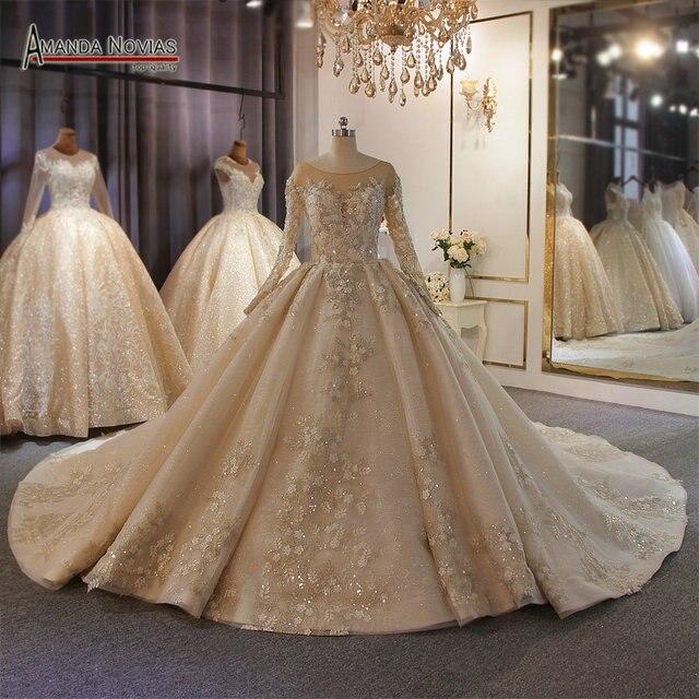 אמנדה Novias מותג חתונה שמלה באיכות גבוהה תחרה העבודה האמיתית דובאי שמלות כלה