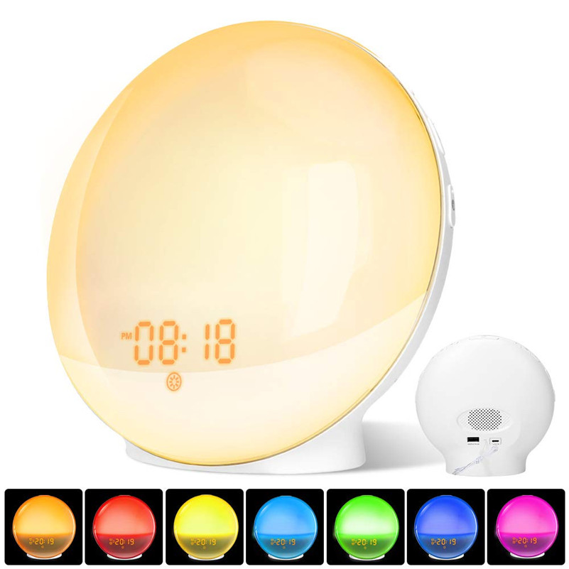Adjustable Colorful Alarm Clock Wake Up Light Digital Snooze Nature Night Lamp Clock Sunrise Light With Nature Sounds FM Radios